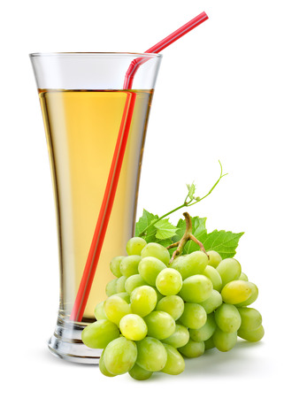 and grape juice: Glass of grape juice with fruit isolated on white.