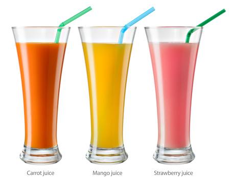 mango fruta: Vaso de jugo. Colecci�n aislado en blanco. Foto de archivo