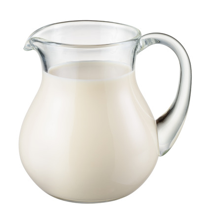milk jugs: Glass jug of fresh milk isolated on white.  Stock Photo