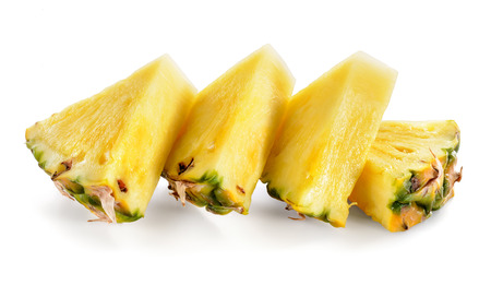 Pineapple slices isolated on white Imagens