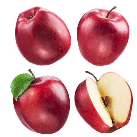 빨간 사과의 컬렉션입니다. 과일과 잎의 세트는 흰색에 고립 스톡 콘텐츠