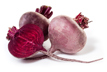 beetroot: Fresh beetroot with half isolated on white Stock Photo