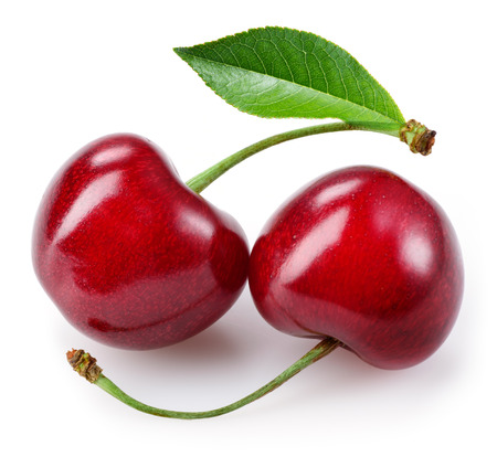 Sweet cherry. Two berries isolated on white
