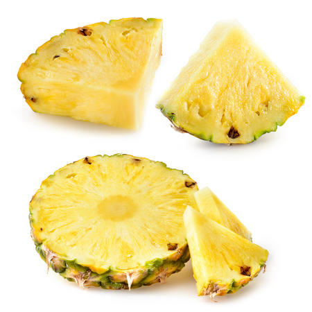 Pineapple slices isolated on white 스톡 콘텐츠