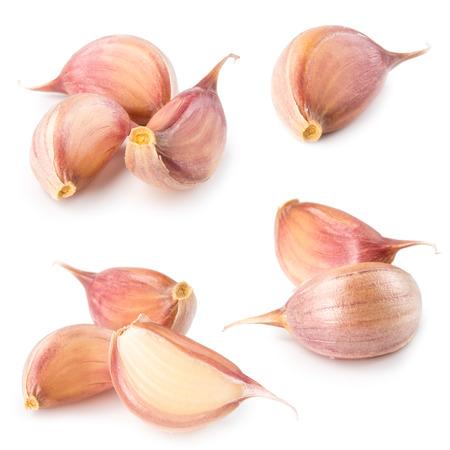 garlic clove: Garlic clove isolated on white. Collection