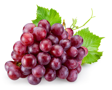 grapes on vine: Ripe red grape with leaves isolated on white Stock Photo