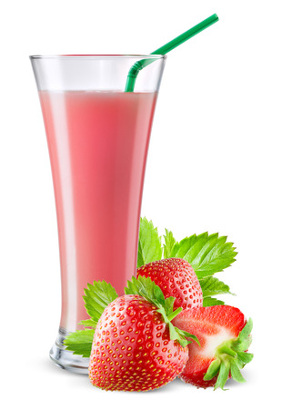 Glass of strawberry juice with fruit isolated on white.