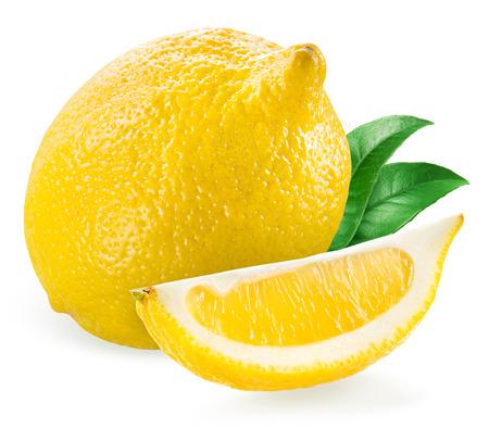 half cut: Lemon with slice isolated on white background Stock Photo