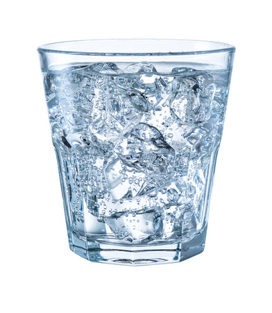 carbonated: Glass of mineral carbonated water with ice. With clipping path Stock Photo