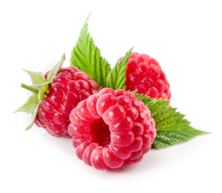 Raspberries isolated on white 스톡 콘텐츠