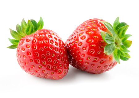 two object: Strawberry isolated on white background. Stock Photo