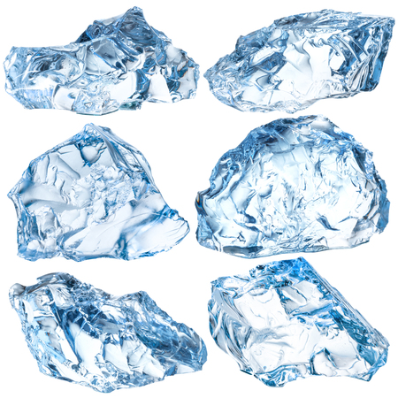ice background: Pieces of ice isolated on white background. With clipping path Stock Photo