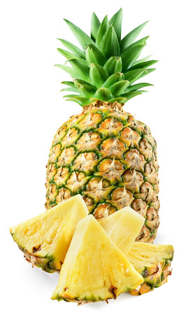 pineapple: Fresh pineapple with slices isolated on white