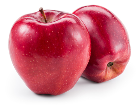 delicious: Fresh red two apples isolated on white. With clipping path