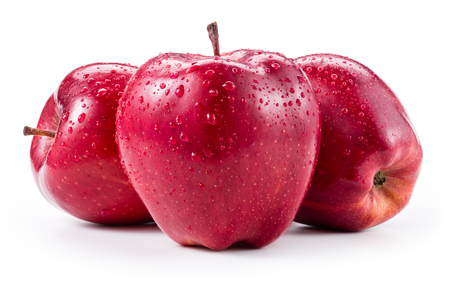Three fresh red apples with drops isolated on white Stock Photo
