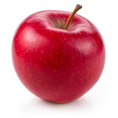 Świeże czerwone jabłko na białym tle. Z wycinek ścieżki