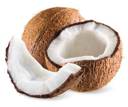 cocotier: Coconut avec la moitié et un morceau isolé sur blanc
