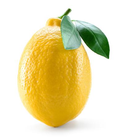 Fresh lemon fruit with leaves isolated on white