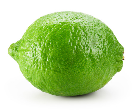 lime green background: Lime fruit isolated on white background. Stock Photo