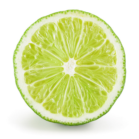 lime fruit: Lime half. Slice isolated on white background Stock Photo