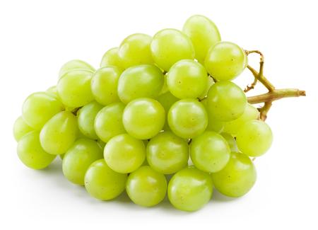 uvas: Uva verde aislado sobre fondo blanco  Foto de archivo