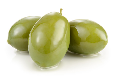 isolated on green: Green olives isolated on white