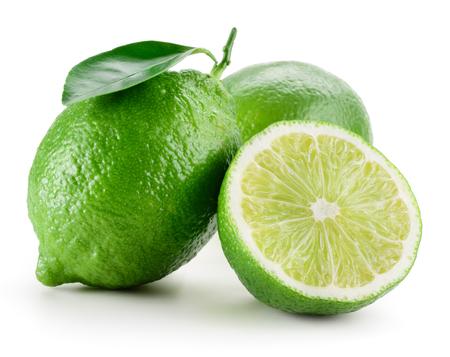 Limoen. Groep van fruit op wit wordt geïsoleerd Stockfoto