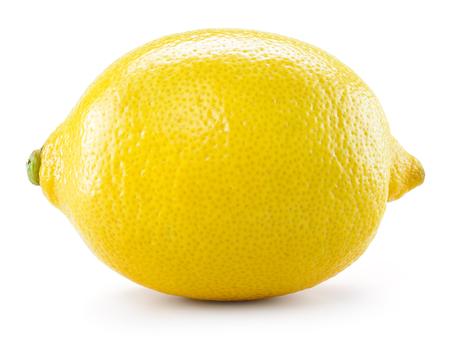 limon: Limón aislado en el fondo blanco. Con trazado de recorte