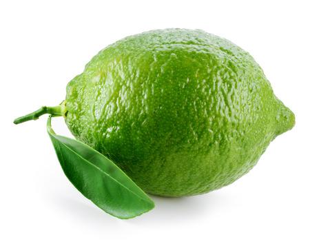 fresh leaf: Lime. Fresh fruit with leaf on white background Stock Photo