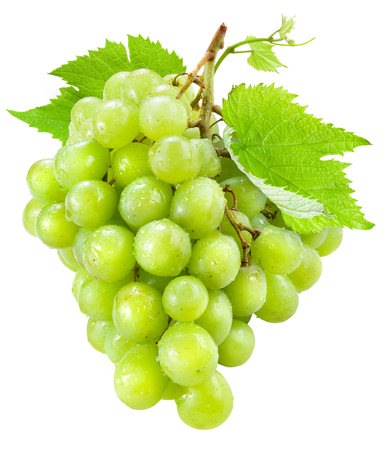 bunch of grapes: Fresh green grapes with leaves. Isolated on white Stock Photo