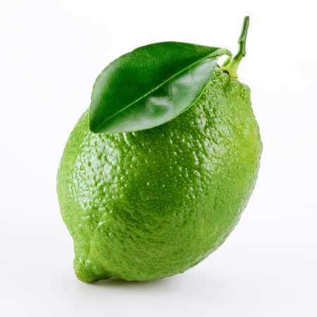 lime: Lime fruit with leaf isolated on white