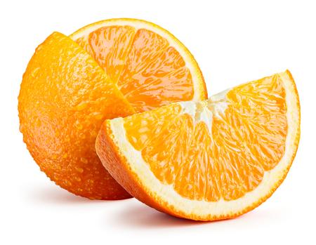 fruit orange: fruta fresca de naranja con la rebanada aislada en blanco