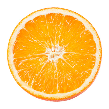 Slice of orange fruit isolated on white Banque d'images