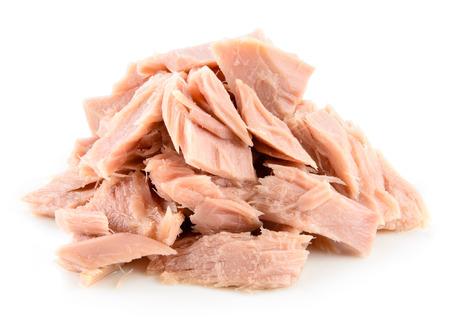 Tuna. Canned fish isolated on white Archivio Fotografico