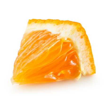 peels: Orange fruit. Little slice isolated. With clipping path. Stock Photo
