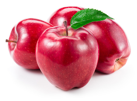Red apples. Fruit with leaf isolated on white.