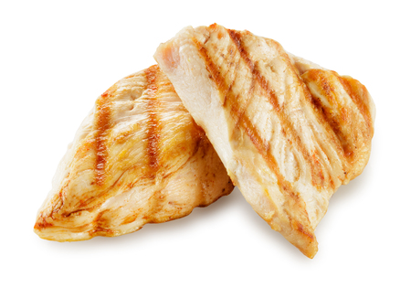 Prepared chicken meat. Breast fillet slices isolated. With clipping path.