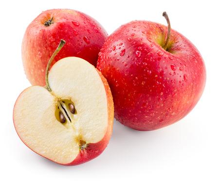 Rode appel. Fruit met druppels geïsoleerd. Met het knippen van weg Stockfoto