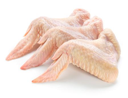 Ali di pollo crudo isolato su sfondo bianco Archivio Fotografico - 53405207