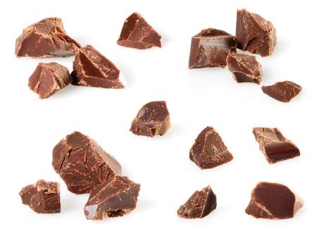 pezzi di cioccolato isolato su bianco. Collezione