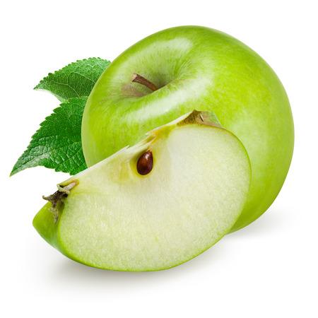 manzana verde: Verde manzana aislado en fondo blanco