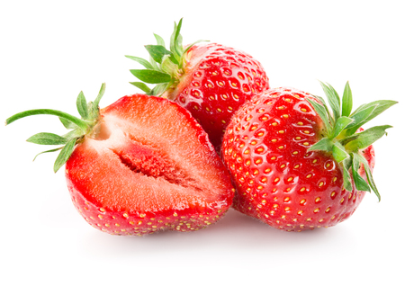 Strawberry with a half isolated on white