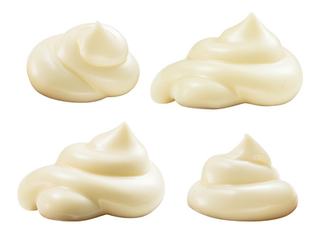 handful: Handful of mayonnaise. Swirl on white background. Collection. Clipping path.