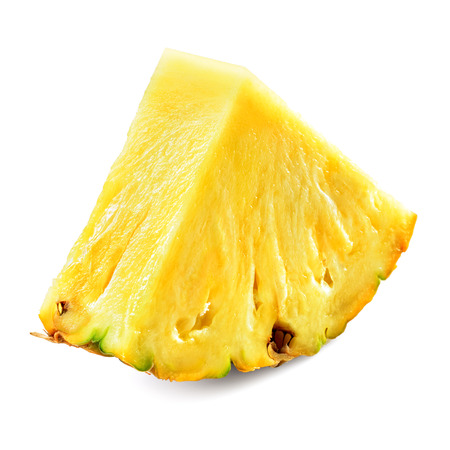 Pineapple piece isolated on white background.