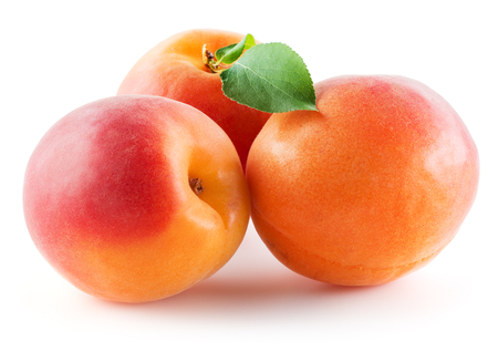 Three Apricots isolated on white background Stock Photo