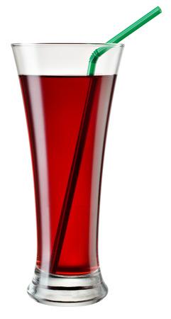 vaso de jugo: Vaso de jugo de cereza aislado en blanco. Con trazado de recorte