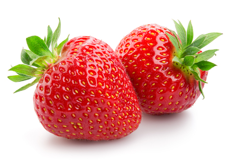 Two strawberries close up on white background Stockfoto
