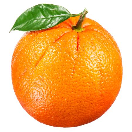 Orange fruit with leaf isolated on white.