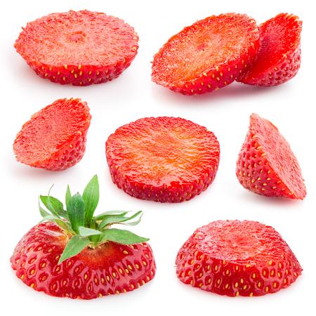 fresa: Fresa. Pieza de fruta en blanco. Colecci�n