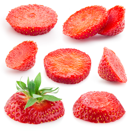 cut: Strawberry. Piece of fruit on white. Collection
